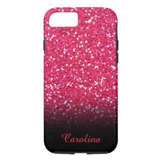 Pink Glitter, Personalized with Name iPhone 8/7 Case