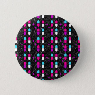 pink glitter pills 6 cm round badge