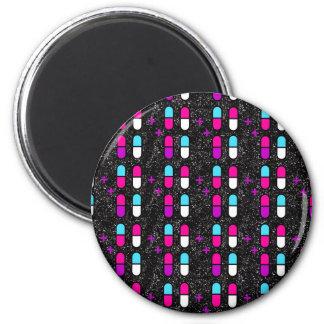 pink glitter pills magnet