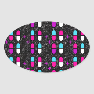 pink glitter pills oval sticker