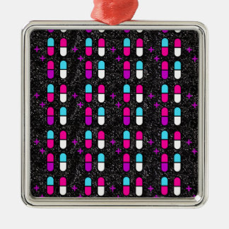 pink glitter pills Silver-Colored square decoration
