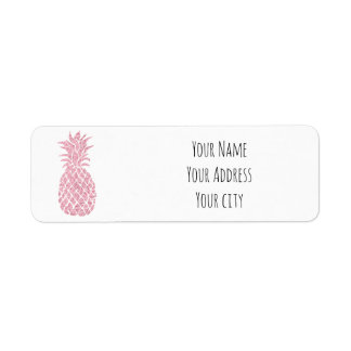 pink glitter pineapple return address label