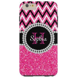 Pink Glitter Pink Chevron Tough iPhone 6 Plus Case