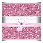 Pink Glitter Pink Cross First Communion Card