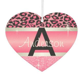 Pink Glitter Print & Leopard Animal | Personalize Car Air Freshener