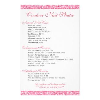 Pink Glitter Print Nails Menu List 14 Cm X 21.5 Cm Flyer