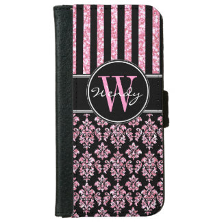 Pink Glitter Printed Black Damask Your Name iPhone 6 Wallet Case