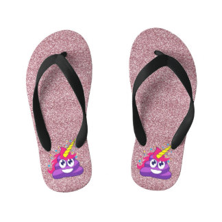 Pink Glitter Purple Unicorn Emoji Poop Flip flops Thongs