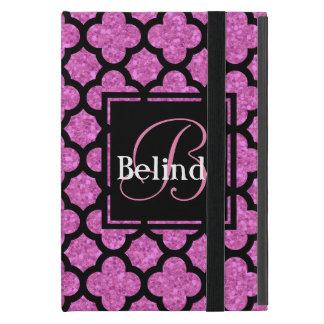 Pink glitter quatrefoil pattern name and monogram cover for iPad mini