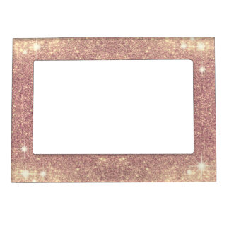 Pink Glitter Rose Gold Sparkle Faux Magnetic Picture Frame