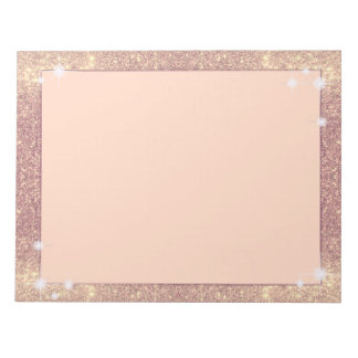 Pink Glitter Rose Gold Sparkle Faux Notepad