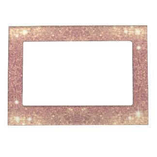 Pink Glitter Rose Gold Sparkle Faux Picture Frame Magnet