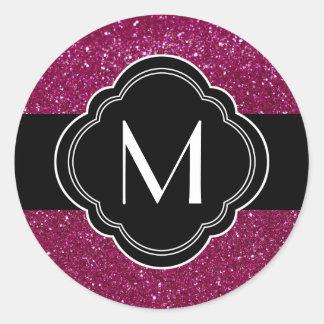Pink Glitter Round Sticker