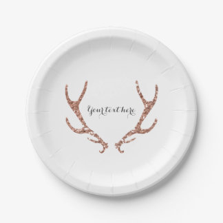 Pink Glitter Rustic Antlers Woodsy Glam Chic Party Paper Plate