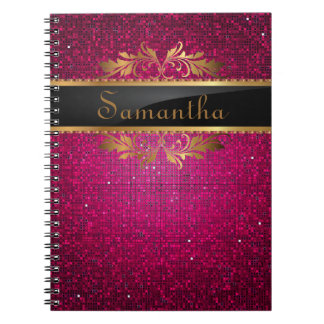 Pink Glitter Sequin Disco Glitz Spiral Notebook