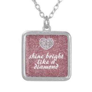 Pink Glitter Shine Bright Diamond Silver Plated Necklace