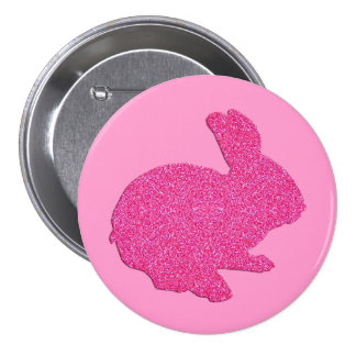 Pink Glitter Silhouette Easter Bunny Button