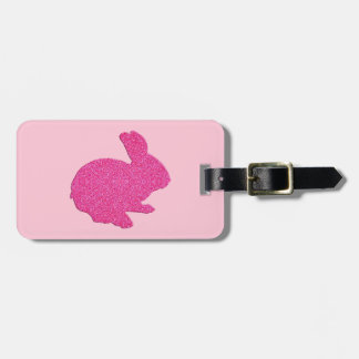 Pink Glitter Silhouette Easter Bunny Luggage Tag