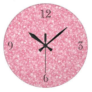 Pink Glitter Silver Gradient. Large Clock