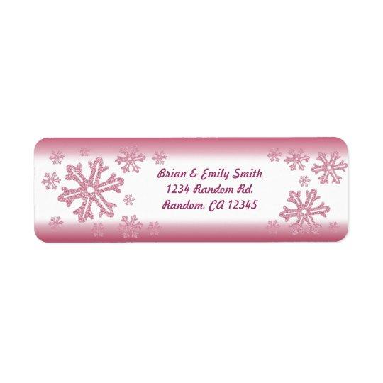 Pink glitter snowflake return address labels