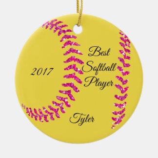 Pink Glitter Softball Stiches Ceramic Ornament