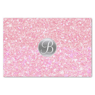 Pink Glitter Sparkle Glam Monogram Initial Tissue Paper