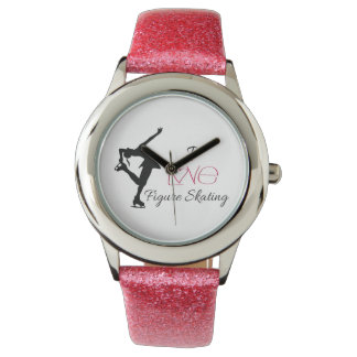 "Pink Glitter Strap ""I love figure skating"" watch"