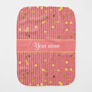 Pink Glitter Stripes Gold Confetti Burp Cloth