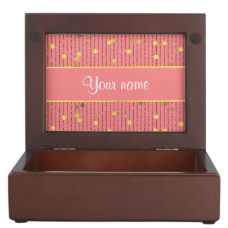 Pink Glitter Stripes Gold Confetti Keepsake Boxes