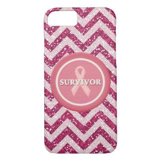 Pink Glitter Survivor Pink Ribbon iPhone Case