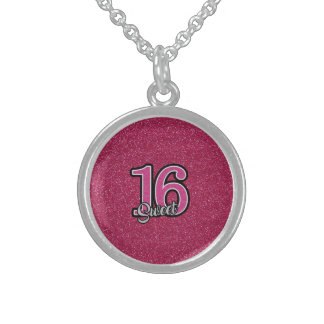 Pink Glitter SWEET16 Sterling Silver Necklace