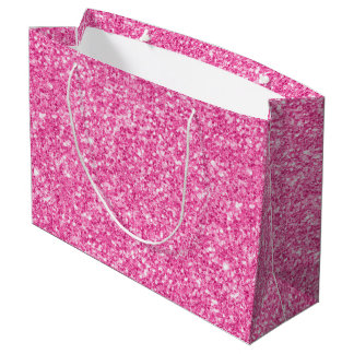 Pink Glitter Texture Print Large Gift Bag