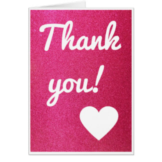 Pink Glitter Thank You Card