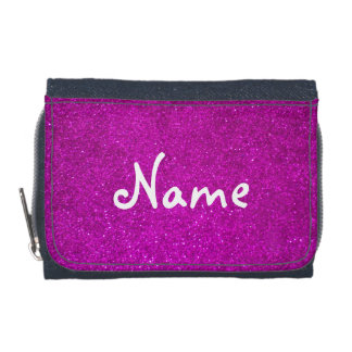 Pink glitter wallet for girls with faux glimmers
