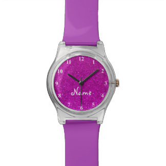 Pink glitter watch for girls with faux glimmers