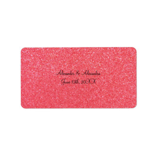 Pink glitter wedding favors address label