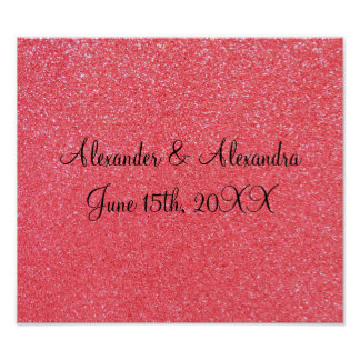 Pink glitter wedding favors posters