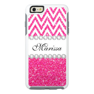 Pink Glitter White Chevron OtterBox iPhone 6 Case
