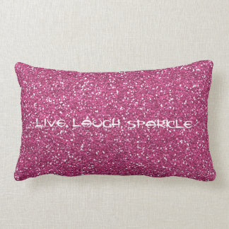 Pink Glitter with live laugh sparkle Lumbar Cushion