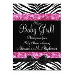 Pink Glitter Zebra Bow Baby Shower Girl