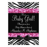 Pink Glitter Zebra Bow Baby Shower Girl Invites