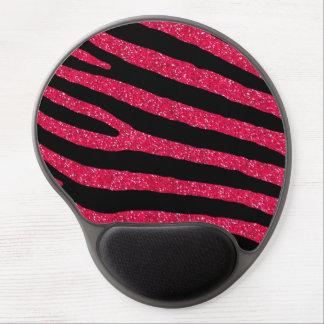 Pink Glitter Zebra Stripe Pattern Gel Mouse Pad