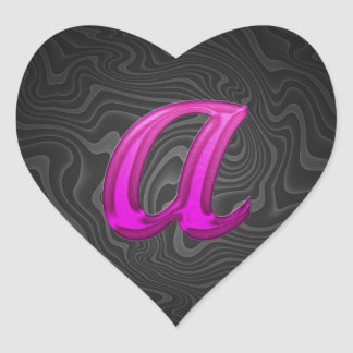 Pink Glittery Initial - A Heart Sticker