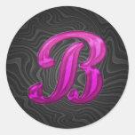 Pink Glittery Initial - B Round Sticker