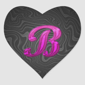 Pink Glittery Initial - B Heart Sticker