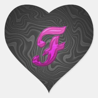 Pink Glittery Initial - F Heart Sticker