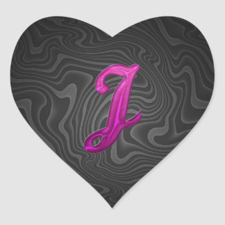 Pink Glittery Initial - J Heart Stickers
