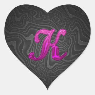 Pink Glittery Initial - K Heart Sticker