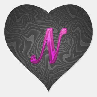 Pink Glittery Initial - N Heart Sticker