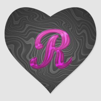 Pink Glittery Initial - R Heart Sticker